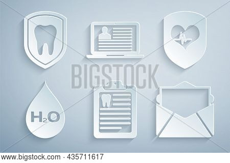 Set Clipboard With Dental Card, Shield And Heart Rate, Water Drop H2o, Mail E-mail, Laptop Resume An