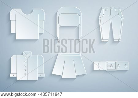 Set Skirt, Pants, T-shirt, Leather Belt, Winter Hat With Ear Flaps And Long Sleeve Icon. Vector