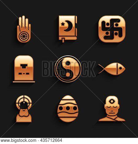 Set Yin Yang, Easter Egg, Man With Third Eye, Christian Fish, Jesus, Tombstone Rip Written, Jainism