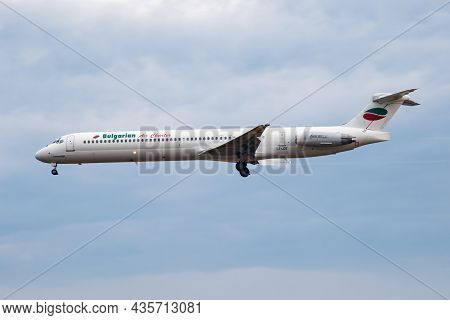 Frankfurt, Germany - June 28, 2017: Bulgarian Air Charter Passenger Plane At Airport. Schedule Fligh