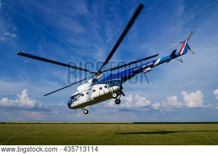 Siofok, Hungary - June 2, 2018: Commercial Helicopter At Airport And Airfield. Rotorcraft. General A