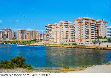 a view of la Gola del Puerto canal, in La Manga del Mar Menor, Murcia, Spain, that connects the lagoon and the Mediterranean sea