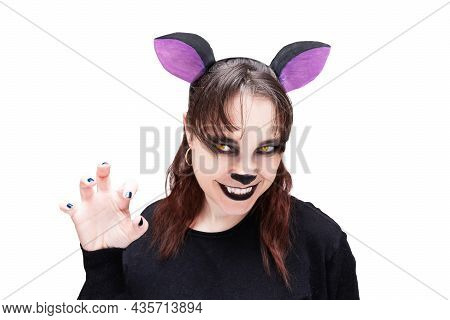 Hyena Cosplay Girl, Isolated On White Background Portrait . Animal Make-up. Cartoon Character.