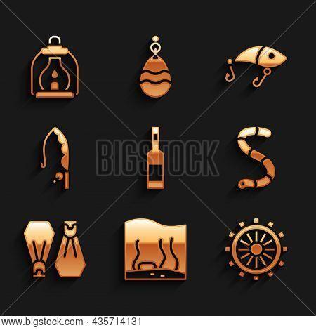 Set Bottle Of Vodka, Aquarium, Ship Steering Wheel, Worm, Rubber Flippers For Swimming, Fishing Rod,