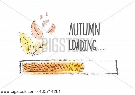 Loading Of Autumn. The Autumn Load Progress Indicator. Vector Illustration Drawn By Hand. Flat Style