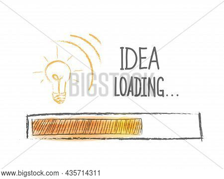 Loading Ideas. An Idea Load Progress Indicator. Vector Illustration Drawn By Hand. Flat Style.