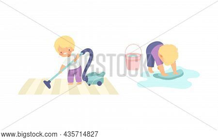 Cute Boy Doing Housework And Housekeeping Vacuum Cleaning And Scrubbing The Floor Vector Set