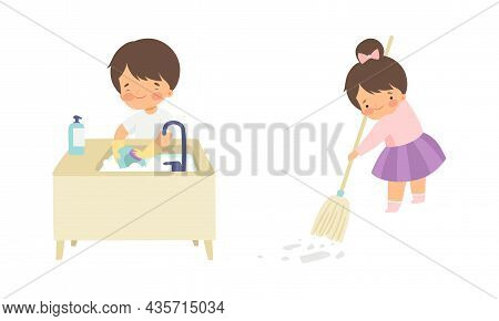 Cute Boy And Girl Doing Housework And Housekeeping Vacuum Sweeping The Floor And Washing The Dishes