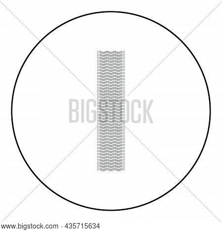 Tire Track Print Of Wheel Automobile Tyres Imprint Car Icon In Circle Round Black Color Vector Illus