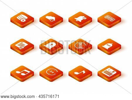 Set Music Note, Tone, Clock 24 Hours, Delete File Document, Tombstone With Cross, And Waiting Icon.