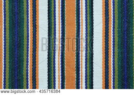 Color Linen Fabric With A Thin Strip, Background. Linen Fabric Texture. Kitchen Towel Closeup. Home