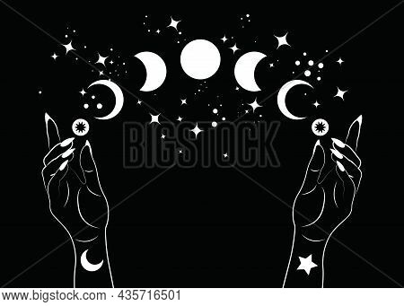Mystical Moon Phases And Woman Hands, Triple Moon Pagan Wiccan Goddess Symbol, Alchemy Esoteric Magi