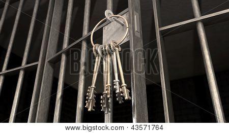 Celda de la cárcel con la puerta abierta y el manojo de llaves