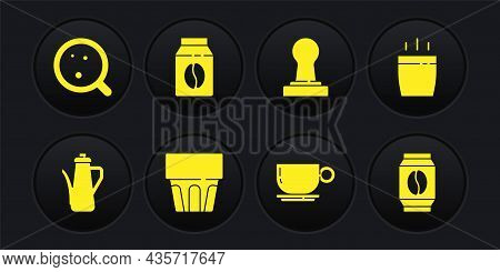 Set Teapot, Coffee Cup, Glass With Water, Tamper, Bag Coffee Beans, And Icon. Vector