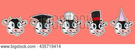Head Cow Animal Sticker Set. Graduation, Chef, Magician And Party Hat. Perfect For Stickers, Logo, G