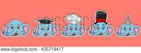 Head Elephant Animal Sticker Set. Graduation, Chef, Magician And Party Hat. Perfect For Stickers, Lo