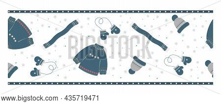 Winter Seamless Border. A Set Of Warm Clothes, A Sweater, Mittens, A Hat, A Scarf. Vector Illustrati