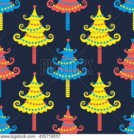 Cute Christmas Trees Seamless Vector Pattern. Winter Season Holidays Sign Bright Color Background. C