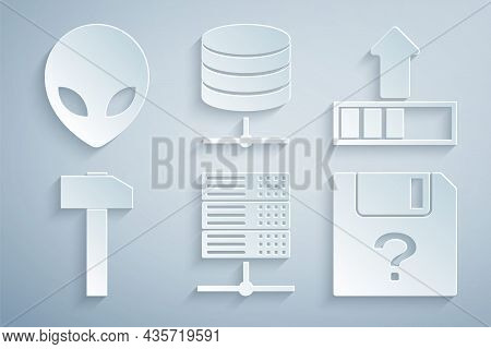 Set Server, Data, Web Hosting, Loading, Hammer, Unknown Document, And Alien Icon. Vector