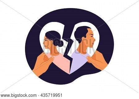 Man And A Woman In A Quarrel. Conflicts Between Husband And Wife. Disagreement, Relationship Trouble