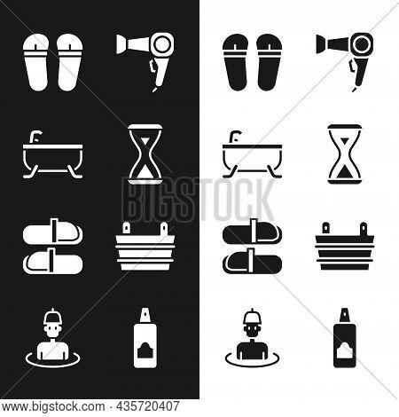 Set Sauna Hourglass, Bathtub, Flip Flops, Hair Dryer, Slippers, Bucket, Spray Can For Hairspray And