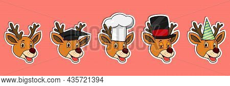 Head Deer Animal Sticker Set. Graduation, Chef, Magician And Party Hat. Perfect For Stickers, Logo,