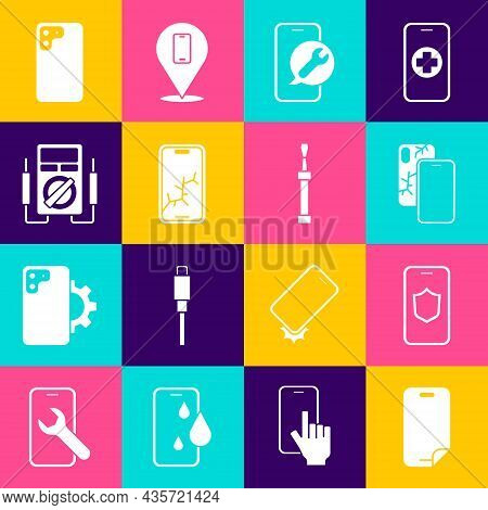 Set Glass Screen Protector, Mobile With Shield, Broken, Service, Multimeter, Smartphone And Screwdri