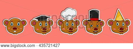 Head Bear Animal Sticker Set. Graduation, Chef, Magician And Party Hat. Perfect For Stickers, Logo,