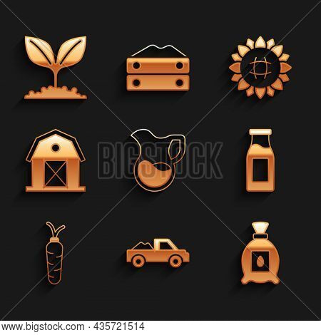Set Jug Glass With Milk, Pickup Truck, Pack Full Of Seeds Of Plant, Bottle, Carrot, Farm House, Sunf