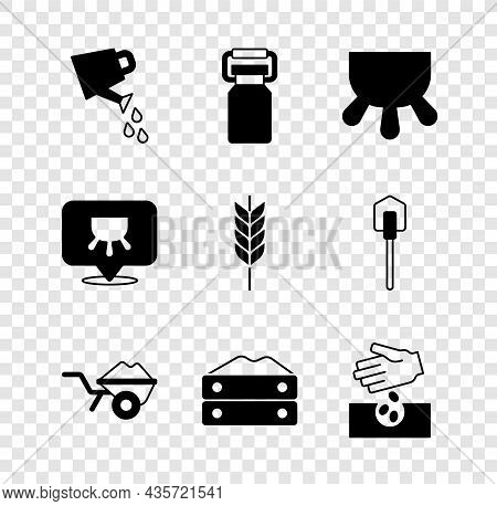 Set Watering Can, Can Container For Milk, Udder, Wheelbarrow With Dirt, Bag Of Flour, Seeds, And Whe