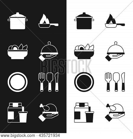 Set Covered With Tray Of Food, Nachos In Plate, Cooking Pot, Frying Pan, Plate, Fork, Spoon And Knif