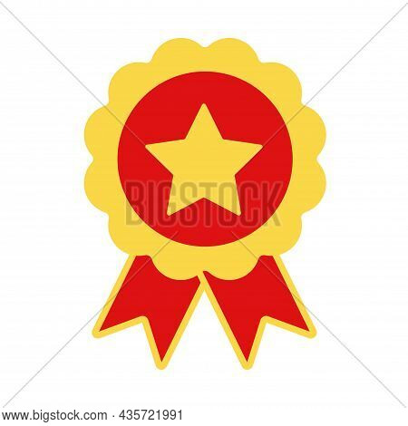 Award Ribbon With A Star In The Center. Icon Icon Set In Trendy Flat Style. Prize And Awards Symbol