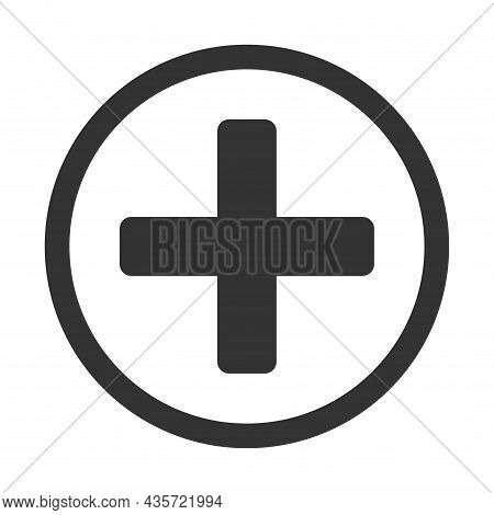 Medical Sign, Cross In A Circle, Button, Gray. Symbol For Help, Health, Hospital And Medicine. Vecto