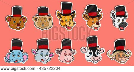 Head Animal Sticker Set. For Logo, Sticker And Magician Theme. Vector And Illustration.