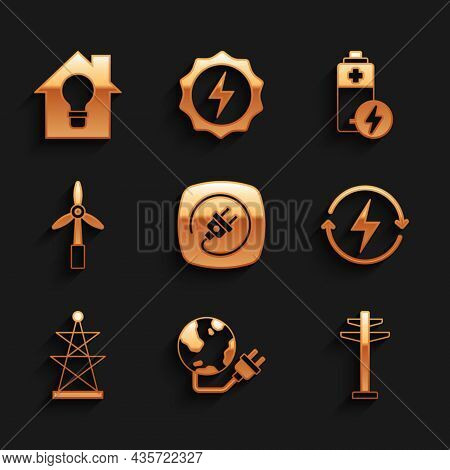 Set Electric Plug, Global Energy Power Planet, Tower, Recharging, Wind Turbine, Battery And Smart Ho