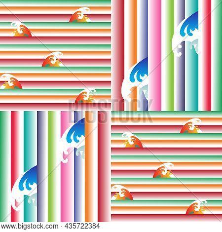 Seamless Gradient Stripe  Japanese Pattern With  Clouds, Waves, Daruma, Sakura Flowers.  For Printin