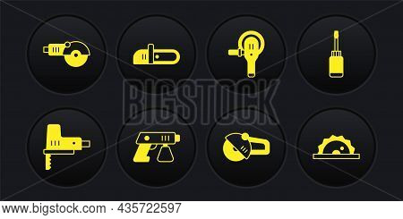 Set Electric Jigsaw, Screwdriver, Paint Spray Gun, Angle Grinder, Chainsaw, Circular And Icon. Vecto