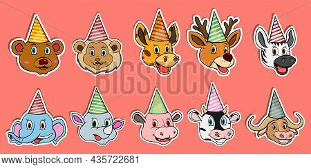 Head Animal Sticker Set. For Logo, Sticker And Birthday Party Theme. Vector And Illustration.