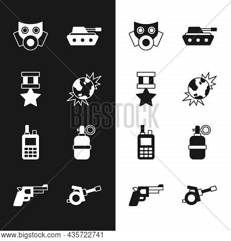 Set Bomb Explosive Planet Earth, Military Reward Medal, Gas Mask, Tank, Walkie Talkie, Hand Grenade,