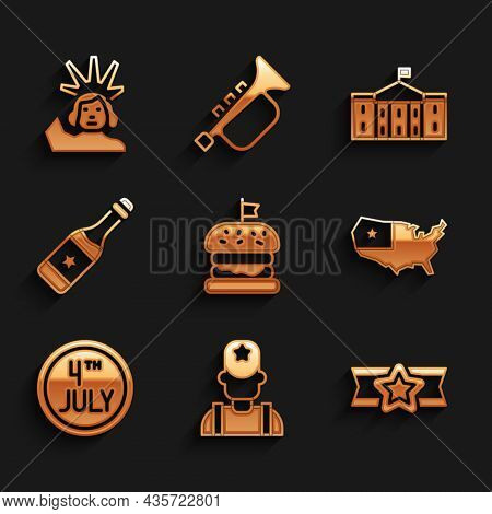Set Burger, Sheriff Cowboy, Star American Military, Usa Map, Calendar With Date July 4, Champagne Bo