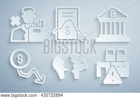 Set Broken Piggy Bank, Bank Building, Dollar Rate Decrease, Shutdown Of Factory, Mobile Stock Tradin