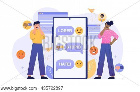 Trolling Online Concept. Man And Woman Standing Next To Smartphone. Social Media, Chatting, Communic