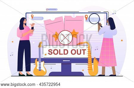 Sold Out Event Concept. Women Buy Tickets To Popular Music Show And Band Performance. Online Search