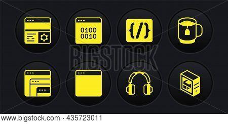 Set Software, Cup Tea With Tea Bag, Browser Window, Headphones, Programming Language Syntax, Binary