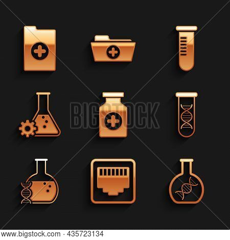Set Medicine Bottle, Network Port Cable Socket, Dna Research, Search, , And Bioengineering Icon. Vec