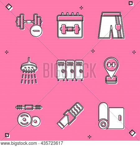 Set Dumbbell, Calendar Fitness, Short Or Pants, Shower, Locker Changing Room, Location Gym, Barbell
