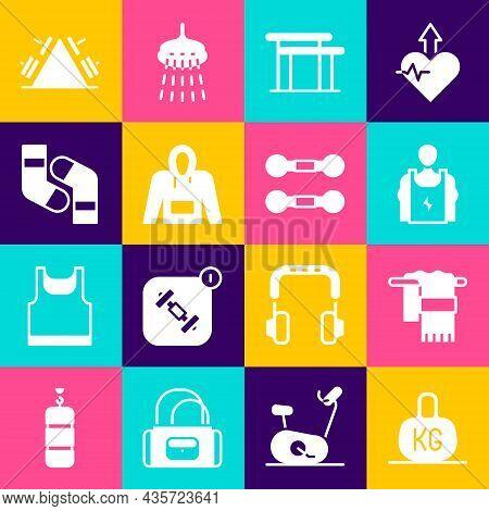 Set Weight, Towel On Hanger, Bodybuilder, Uneven Bars, Hoodie, Socks, Metal Rack With Weight And Dum
