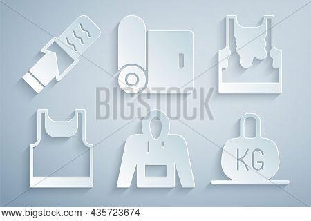 Set Hoodie, Sweaty Sleeveless T-shirt, Sleeveless, Weight, Fitness Mat Roll And Protein Sport Bar Ic