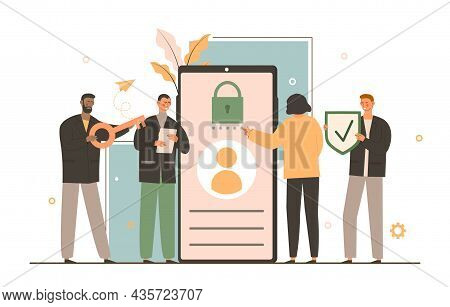 Concept Sign In Page On Mobile Screen. Login And Password To User Account. Woman Enters Correct Data