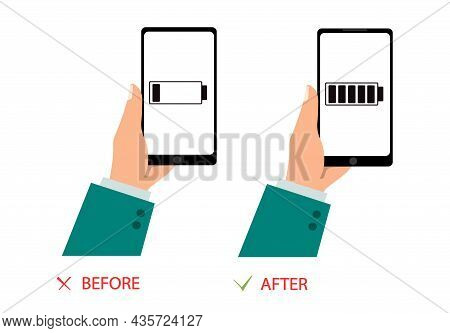 The Phone Is Fully Charged And Discharged.a Man Is Holding A Phone.vector Illustration